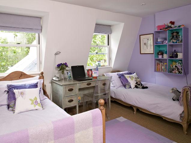 Pretty Purple Shared Kids Room