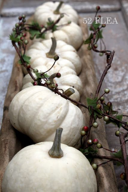 a bread bowl with white pumpkins and some branches is a rustic fall decoration or a centerpiece that can be DIYed last minute