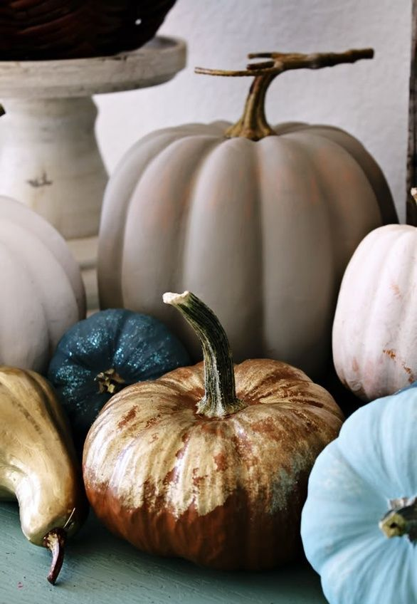 natural pumpkins painted in non typical for the fall colors   blue, blush, grey, navy and gold