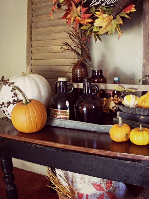 simply place natural pumpkins and gourds on tables and consoles to make your space look fall-infused and chic