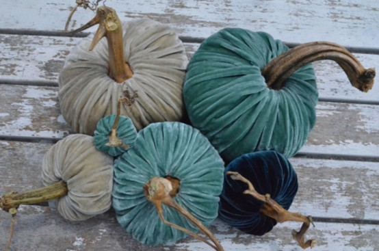 white, turquoise and navy velvet pumpkins are a delicate and lovely idea to decorate for fall, Halloween and Thanksgiving