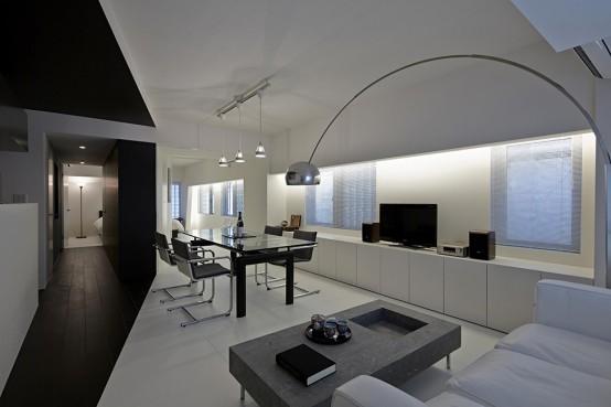 Pure Minimalism Black And White Monochromatic Apartment