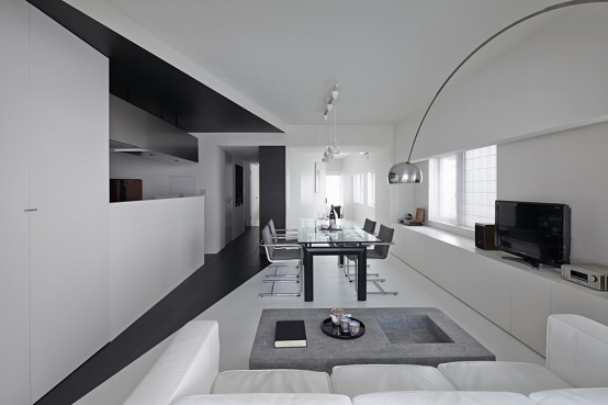 Pure Minimalism Black And White Monochromatic Apartment