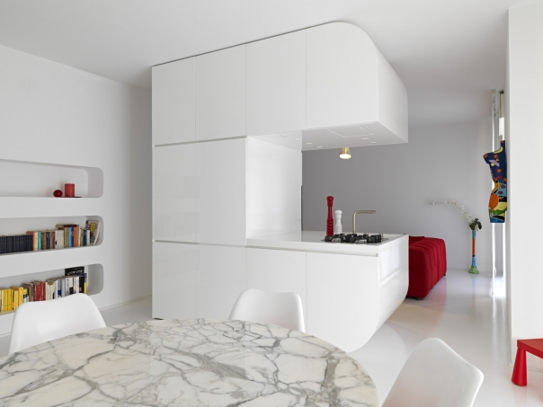 Almost Pure White Futuristic Apartment Design Space