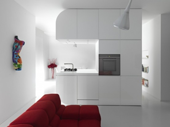 Pure White Futuristic Apartment Space Oddysey