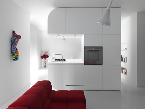 Almost Pure White Futuristic Apartment Desing Space