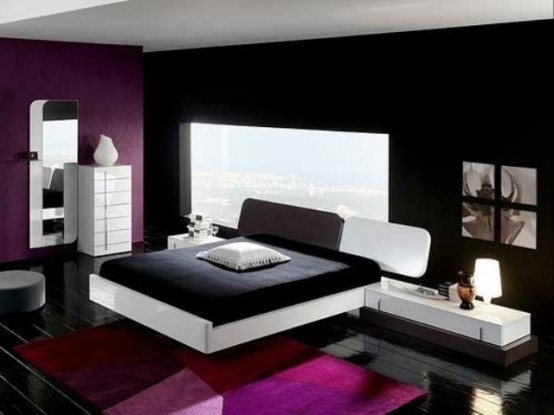 a contrasting black, white and purple bedroom with a window, black and white furniture, a mirror and a view