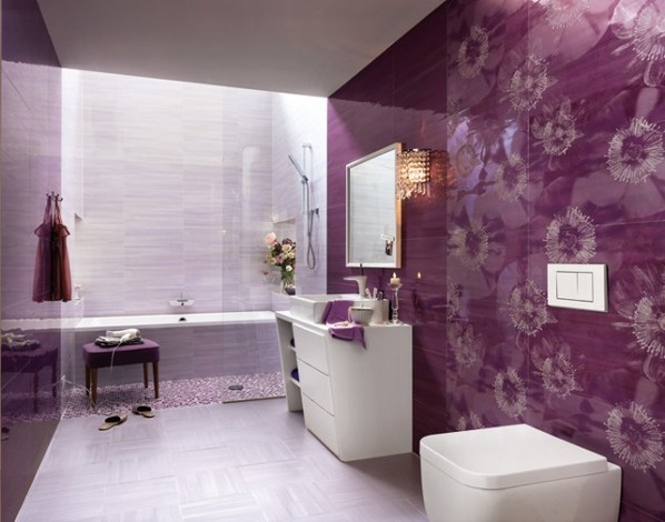 a purple and lavender bathroom with florla patterned tiles, sculptural details and a skylight