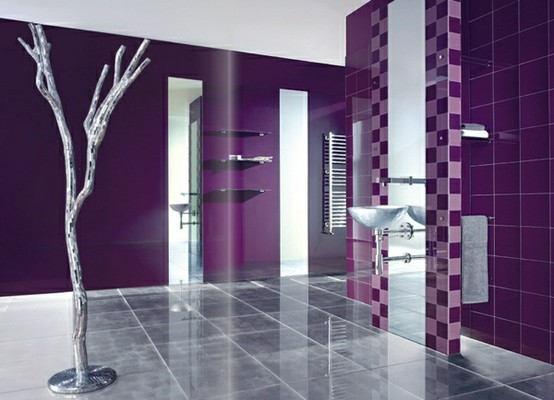 33 cool purple bathroom design ideas digsdigs for Purple bathroom tiles ideas