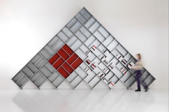 Modular Bookcases Shaped Like Pyramids by Fitting