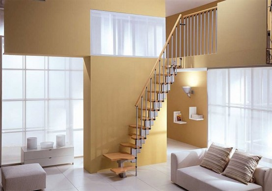 Mini Plus by Mister Step is a particularly compact open staircase, created to employ a flight solution even when there is insufficient space for a normal open staircase. The special profiled stairs reduce bulk to a minimum without sacrificing comfort.