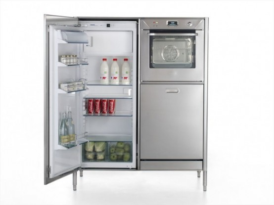 Race car style inox kitchens for tight spaces digsdigs - Refrigerator small spaces style ...