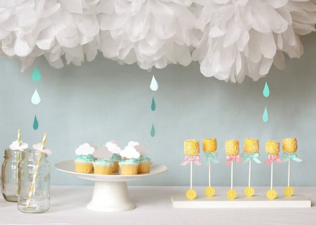 rain shower themed gender neutral baby shower