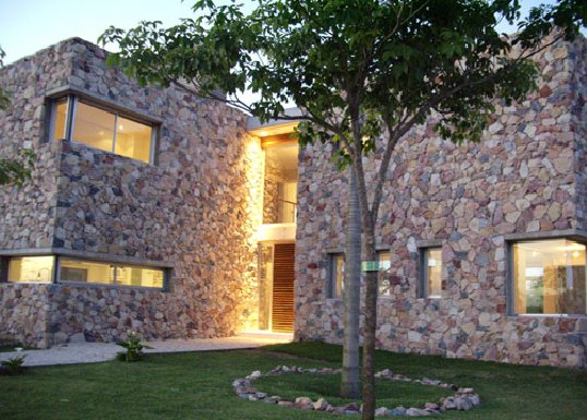 Contemporary Raw Stone Wood House Casa Nordelta Digsdigs