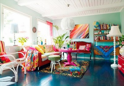 Really Bright And Colorful Living Room