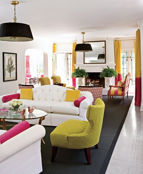 Two Sitting Areas And Fireplace Really Cool Colorful Living Room