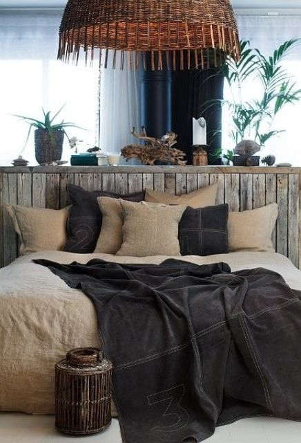 Stone And Wood Make A Dark Masculine Interior: 43 Stylish Masculine Headboards For Your Man's Cave