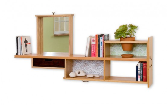 Recycled Bookshelf With Built-In Mirror And Planter