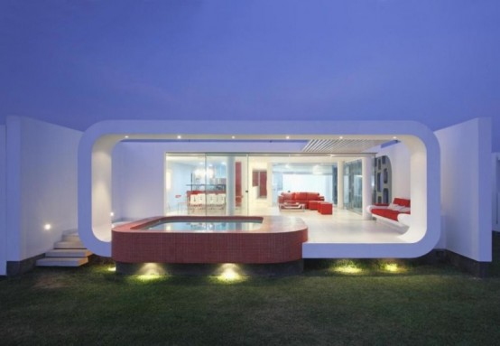 Red And White Modern Residence With Dramatic Architecture