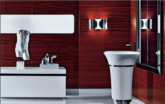 an exquisite burgundy bathroom with metallic touches and white appliances is a refined and chic space