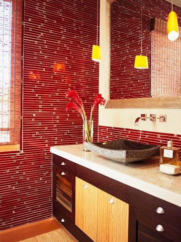 Cool And Bold Red Bathroom Design Ideas Digsdigs