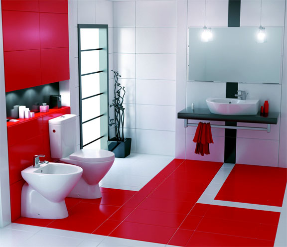 a bright minimalist bathroom in red and white, with white appliances and lots of light