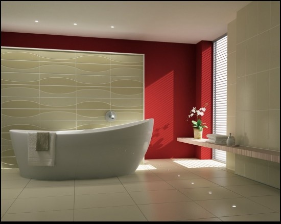 a neutral bathroom with a statement red wall that brings in color and life to the space