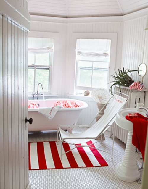 red bathroom design ideas - Red And White Bathroom