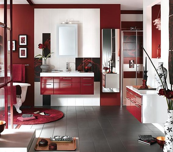 Cool Red Bathroom Design Ideas