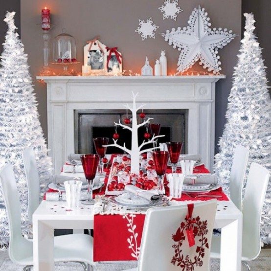 red christmas decoration ideas - Red And White Christmas Decorations