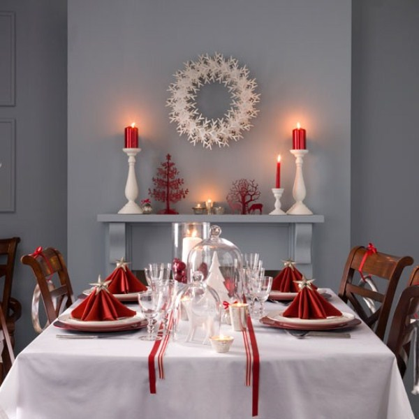 40 christmas decoration ideas in all shades of red digsdigs for House table decorations