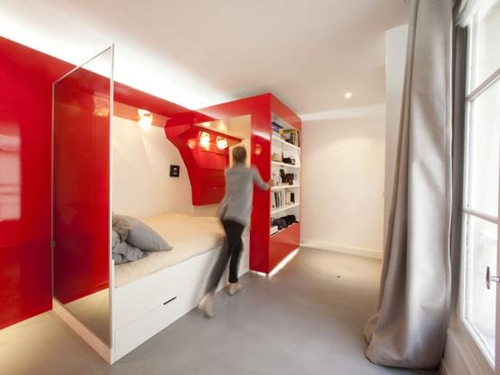 Bedroom, Bathroom, Dressing and Woking Areas on 23 Square Meters