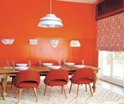 Red Orange Modern Dining Area