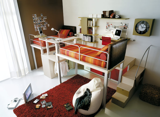red teenage loft bedroom