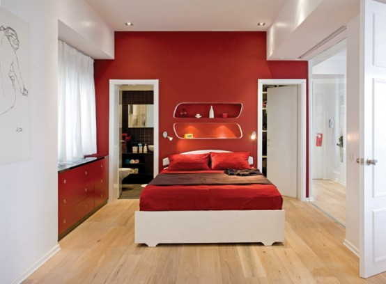 Red-White Apartment Interior Decor