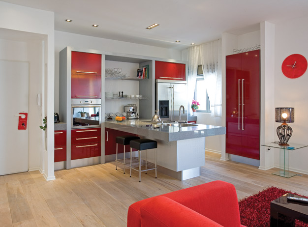 Red White Apartment Decor