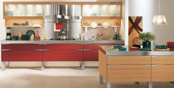 red wooden kitchen
