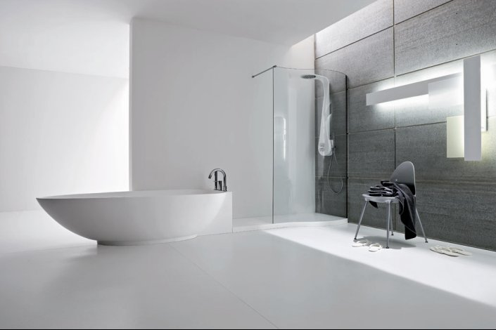 Refine black and white sanitary ware for modern bathroom for Monochrome bathroom designs