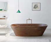 Refined And Polished Wooden Shell Bathtub