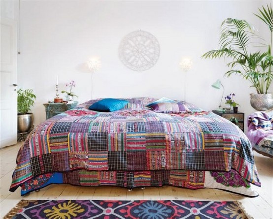 Pair a heavily patterned piece, like this duvet, with crisp white walls for a balanced look.