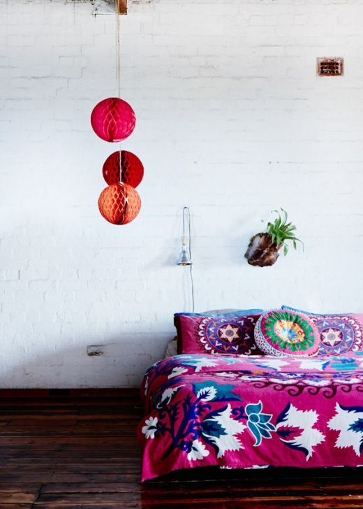 A colorful, patterned duvet looks best with simple surroundings like monochrome walls and floors.