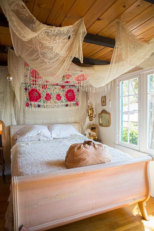 for balancing splashes of color soft curtains and canopies work extremely well - Bohemian Bedroom Design