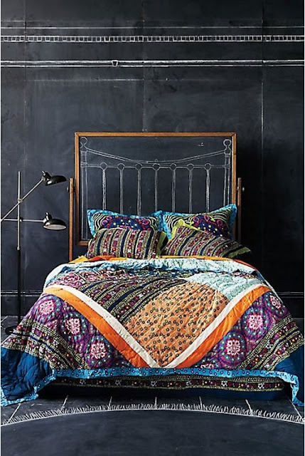 Boho patterns could work in dark rooms too.