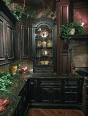 a dark Gothic kitchen with heavy black cabinets, a burgundy hood over the cooker and lots of potted greenery and lights