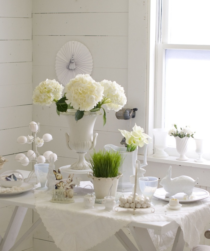 26 refined white easter d cor ideas digsdigs for Home easter decorations