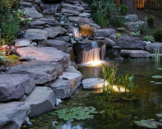 your waterfall or backyard pond would look much better at night with underwater lighting - Garden Waterfalls