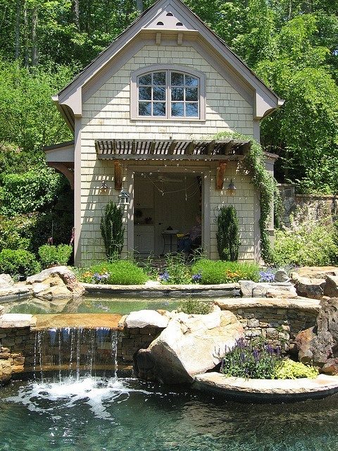 75 relaxing garden and backyard waterfalls digsdigs - Summer house plans delight relaxation ...