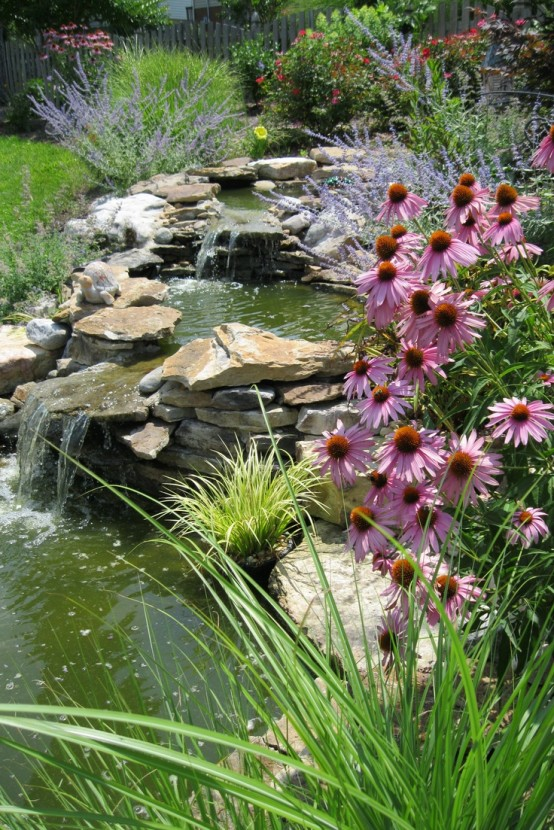 Backyard Waterfalls Ideas natural pond landscaping home garden ideas large garden pond with waterfall ideas design Relaxing Backyard And Garden Waterfalls