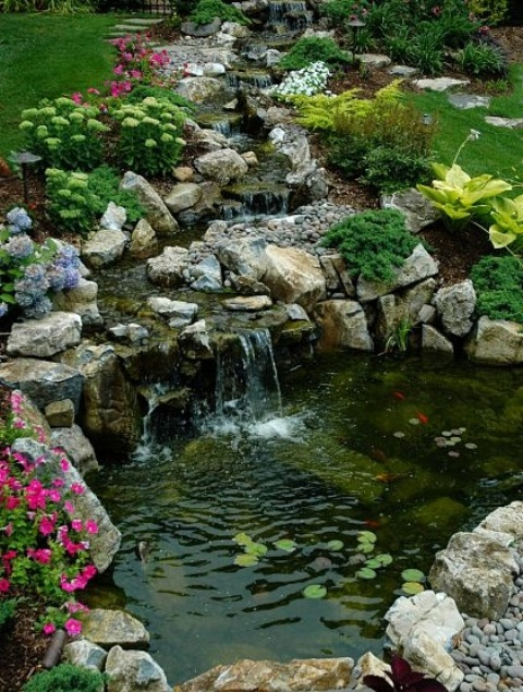 Backyard Waterfalls Pictures : 75 Relaxing Garden And Backyard Waterfalls  DigsDigs