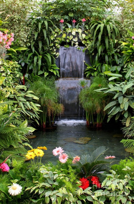 75 relaxing garden and backyard waterfalls digsdigs - Garden Waterfalls